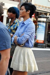 skirt,rihanna,white,short