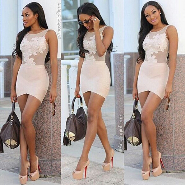 Perspective Lace Nude Color Stitching Cross Bodycon Dress