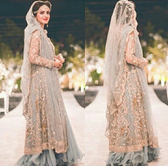 dress pakistani indian pakistan india grey blue floral embroidered flowers floral dress asian asian bridal couture