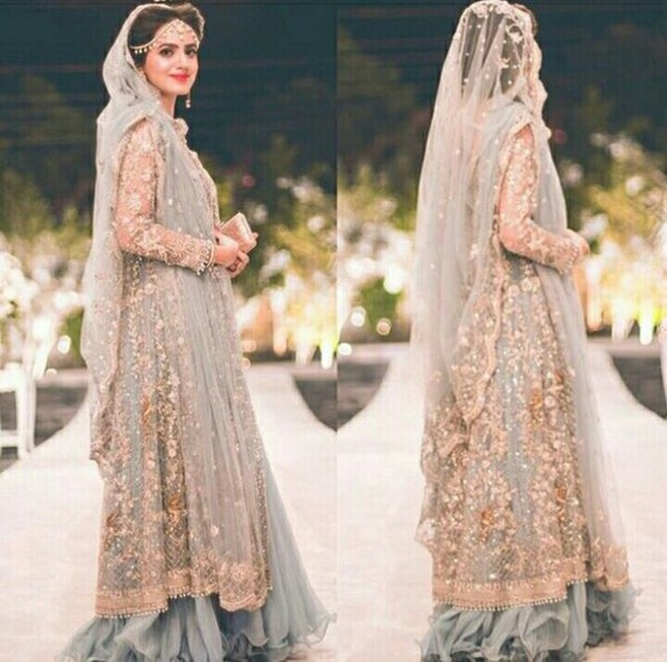 f707c2eba33f dress pakistani indian pakistan india grey blue floral embroidered  embroidered flowers floral dress asian asian bridal