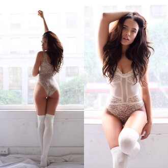 underwear white lace white bodysuit white lingerie knee high socks bridal lingerie all white everything sexy