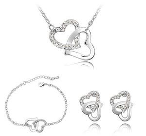 Jewellery / Jewelry Set White Crystal Hearts Earrings Bracelet Necklace F31S | Amazing Shoes UK
