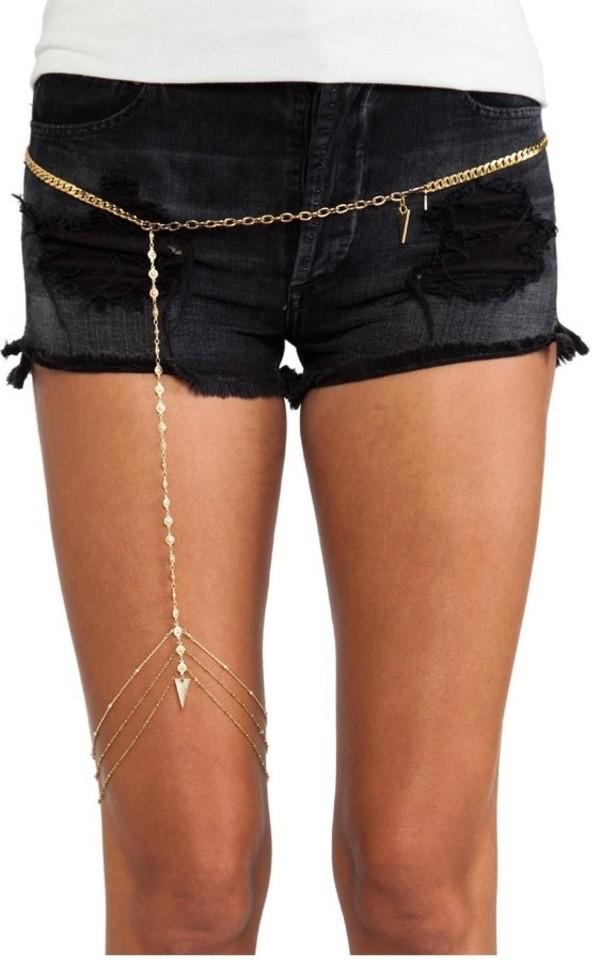 belt gold leg chain chain belt vanessa hudgens coachell coachella