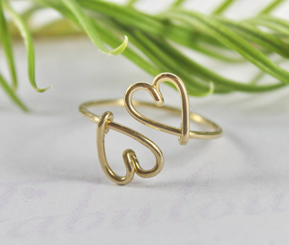 Double Heart Ring  Heart To Heart Love And by FabulousWire on Etsy