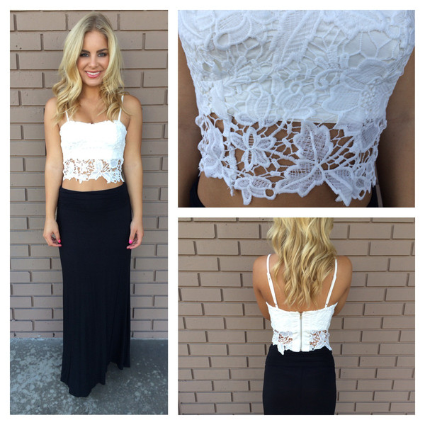 White Jacklyn Crochet Lace Crop Top                           | Dainty Hooligan Boutique