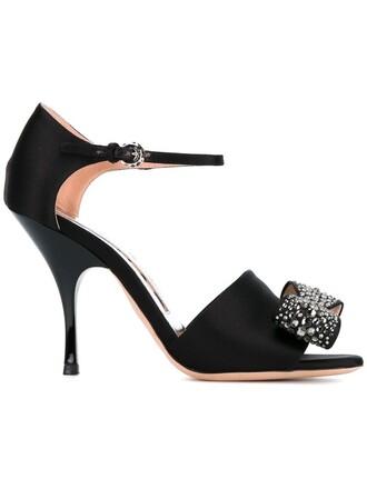 bow embellished sandals black shoes