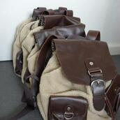 bag,backpack,brown,cream,double pocket,leather