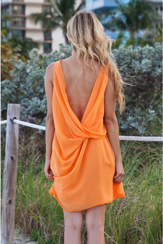 Orange Open Back Dress