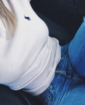 t-shirt,ralph lauren,white,shirt,top,blue,navy,logo,horse,jockey