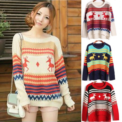 Women Christmas Deer Knitted Pullover Sweater Loose Striped Jumper Outwear Tops | eBay