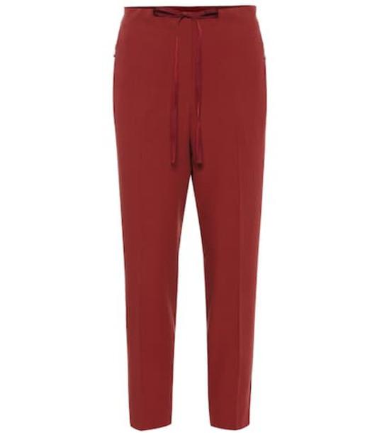 Bottega Veneta Cropped mid-rise straight pants in red
