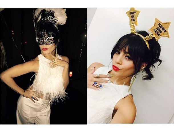 top crop tops vanessa hudgens feathers white pants new year's eve