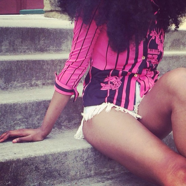 blouse pink abstract top shirt vintage black fashion runway