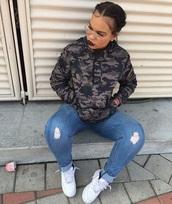 top,camouflage,hoodie,black,grey