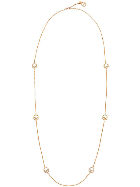 Fendi women necklace grey bronze metallic jewels