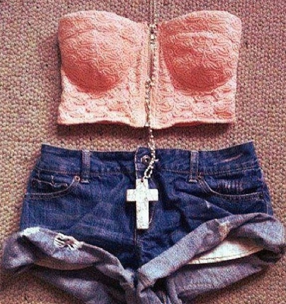 shirt denim bustier shorts tank top pink lace high waisted corset floral cross trendy jewels denim shorts crop tops cross necklace blouse t-shirt top bralette girly vintage swag short jeans blue jeans collier bustier crop top pink top outfit summer outfits