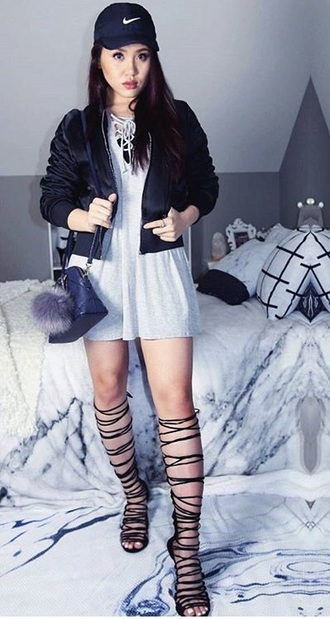 shoes lace up knee high boots high heels black heels strappy strappy heels suede boots suede streetwear