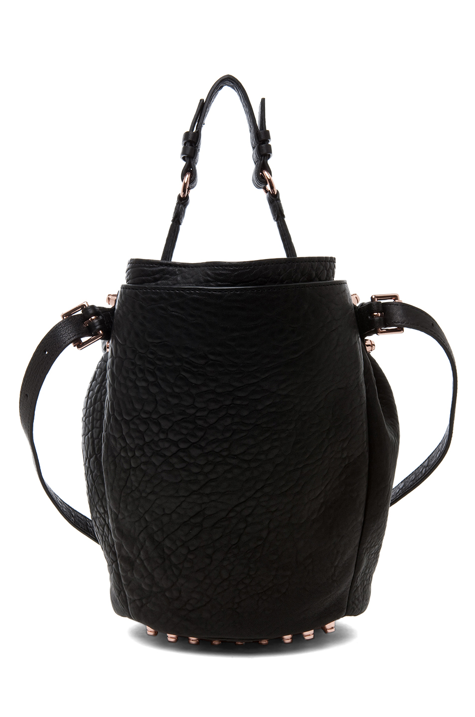 Alexander Wang Diego Bucket Bag With Rose Gold In Black