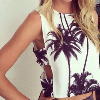 top sexy fashion trendy cute girly white pretty stylish style palm tree print print black and white