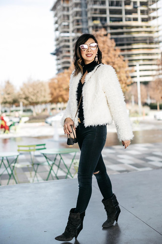 styleofsam blogger top jeans jewels belt jacket shoes bag sunglasses fall outfits fuzzy jacket boots