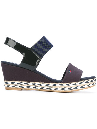 women sandals wedge sandals leather cotton blue shoes