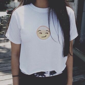 shirt top emoji emoji shirt graphic tee graphic t-shirt funny white t-shirt