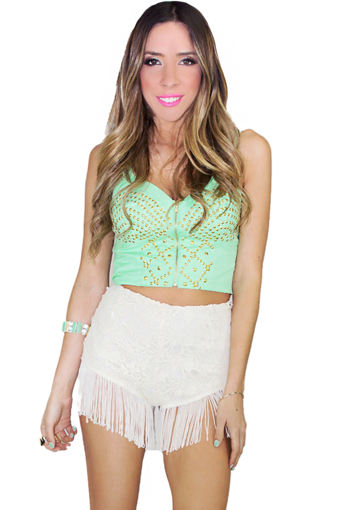 GOLD STUDDED BRALETTE - Mint | Haute & Rebellious