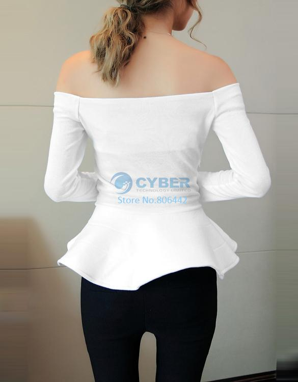 Fashion Lady Boat Neck Long Sleeve Solid Color Cotton Tops Peplum Blouse 18818-in Blouses & Shirts from Apparel & Accessories on Aliexpress.com