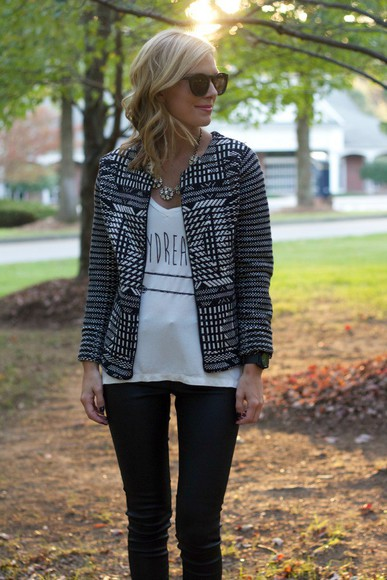 top jewels jacket quote on it white t-shirt blogger life with emily cardigan sunglasses