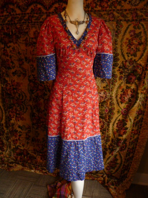Sweet 70s red & blue floral long hippie maxi by starlingdarlin