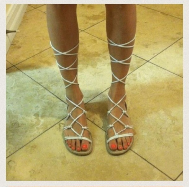 7ccff2a5fee shoes, gladiators, white lace shoes, lace up sandals - Wheretoget