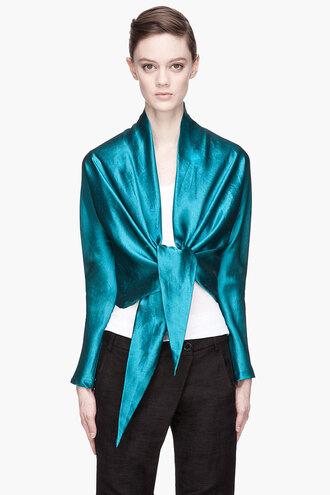 waist tie blouse clothes women deep teal silk soe shirt