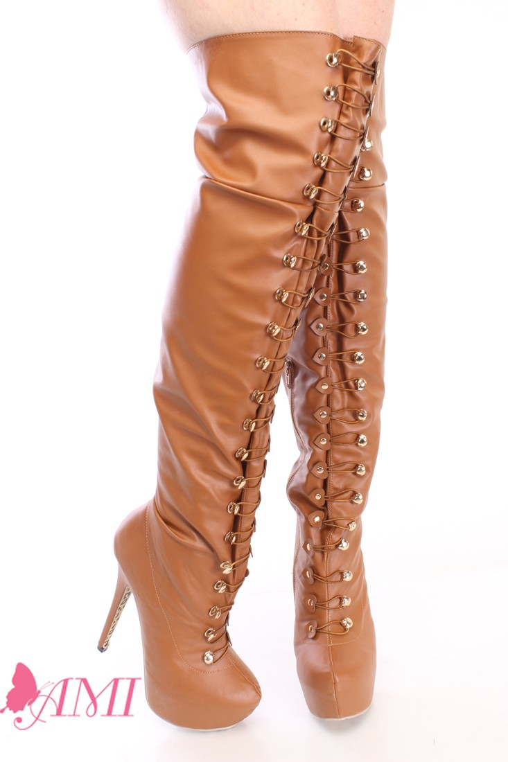 Brown Looped Thigh High Platform Boots Faux Leather