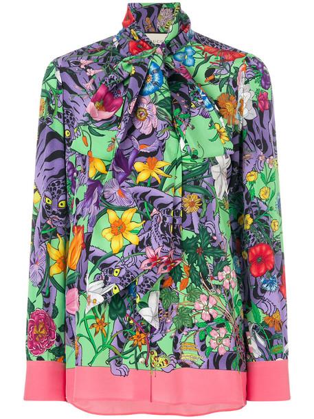 gucci blouse women tiger tiger print print silk top