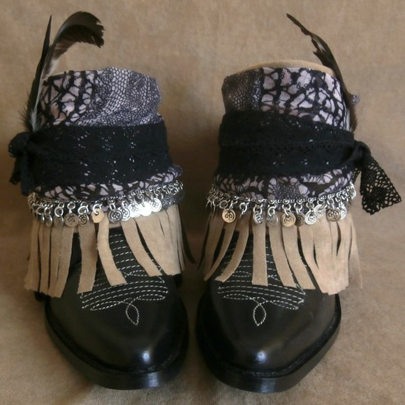 shoes boho upcycled boots ethnic tribe festival native etsy free shipping handmade cowboy boots