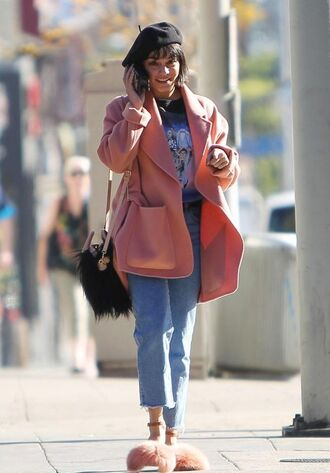 shoes sandals vanessa hudgens streetstyle coat fall outfits hat