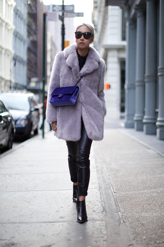 the haute pursuit blogger bag lilac fur coat