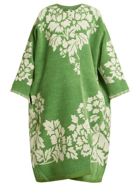 MARIT ILISON coat jacquard floral cotton white green