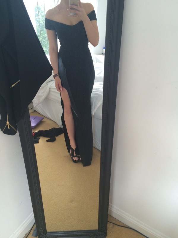 dress black dress dinner dress black tight slit prom