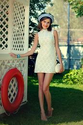 dress,daisy dress,crochet lace dress,peter pan collar dress,summer dress,white dress,floral dress,lace dress,white lace dress,fashion blogger