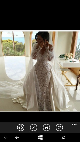 dress wedding dress wedding accessories wedding clothes wedding white lace dress sheer long sleeve dress embellished embellished dress lace wedding dress