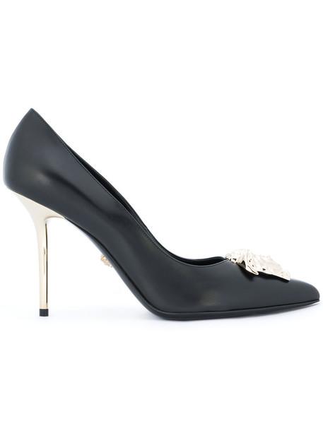 VERSACE women pumps leather black shoes