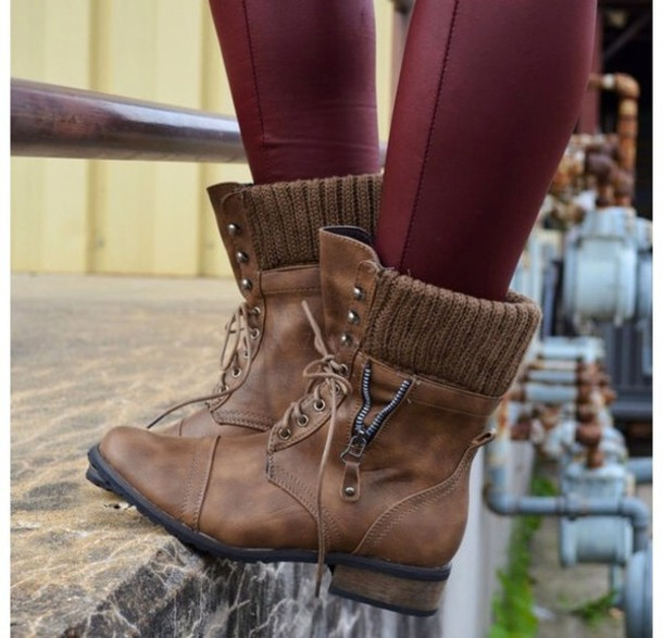 Shoes: brown leather boots, brown combat boots, soft grunge ...