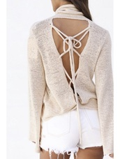 sweater,girly,girl,girly wishlist,fall sweater,fall colors,nude,backless,lace up