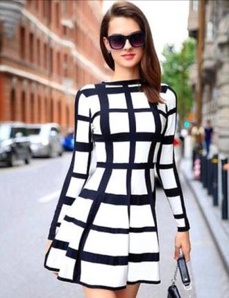 dress long sleeves black and white skater dress plaid dress black white girly classy elegant spring rose wholesale-jan