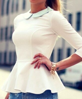 sweater cute white girly fall outfits fashion style casual collar peplum long sleeves