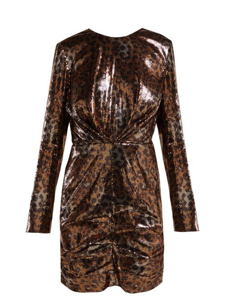 Msgm - Leopard Print Sequinned Mini Dress - Womens - Black Gold