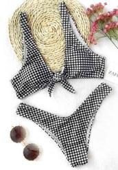 swimwear,girly,two-piece,bikini,bikini top,bikini bottoms,black,black and white,plaid