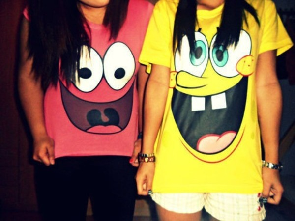 t-shirt spongebob spongebob patrick t-shirt shirt cute yellow pink top t-shirt clothes spongebob pink yellow bff patrick star funny shirt bff nickelodeon bff bestfriend shirt pink shirt best friend shirt need these shirts!❣
