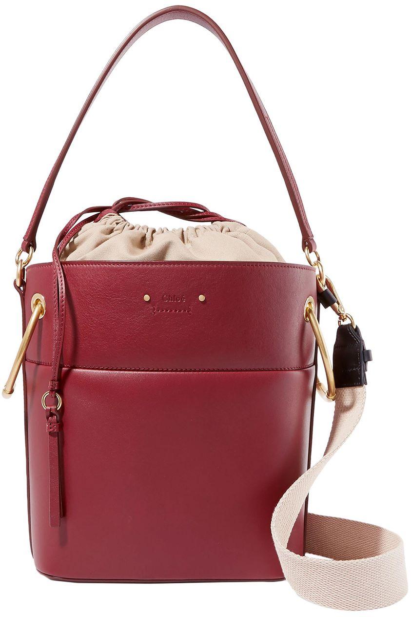 Chloé Woman Roy Medium Leather Bucket Bag Burgundy Size --